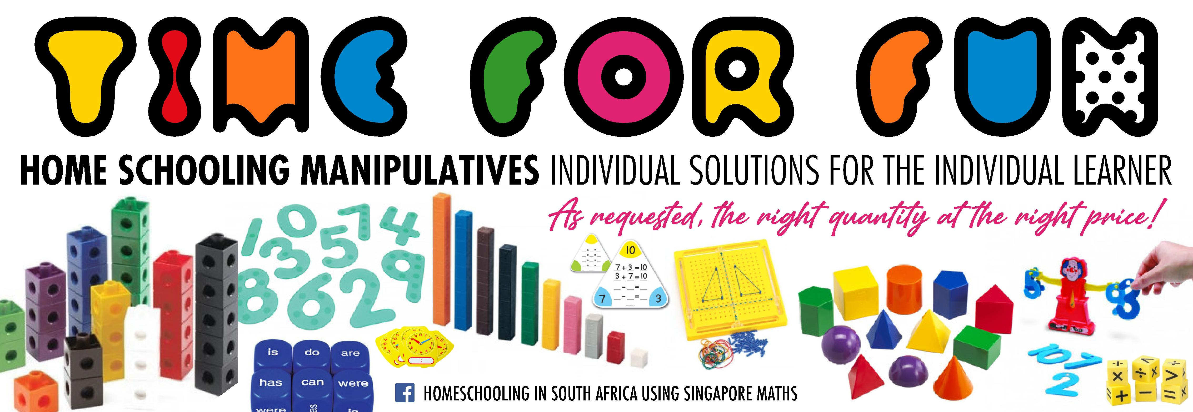 Banner for Time For Fun resources and manipulatives for homeschoolers.